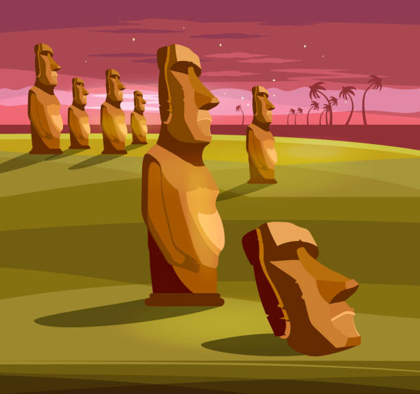 Stone idols. Tourism and vacation tropical Easter island background. Moai statues of Easter island landscape Polynesia vector art illustration