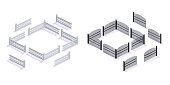 Stone and metal 3D fences, with gates, for garden and urban architecture, map elements. Gate constructor of metal wrought-iron lattice gates, rock fence for courtyard and city park. Isometric vector.