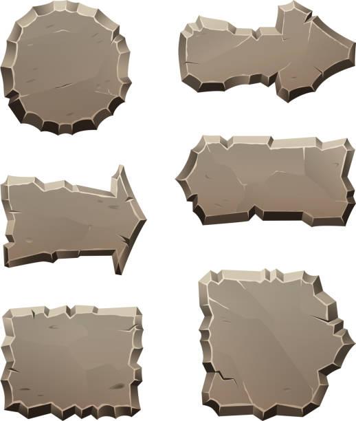 stein bewegen richtung platten und blöcke zu isolieren, auf weiß - granitplatten stock-grafiken, -clipart, -cartoons und -symbole