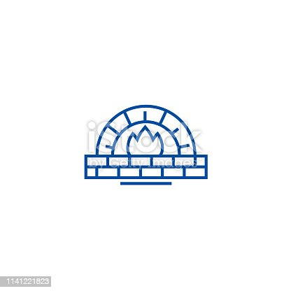 Stone oven line concept icon. Stone oven flat  vector website sign, outline symbol, illustration.