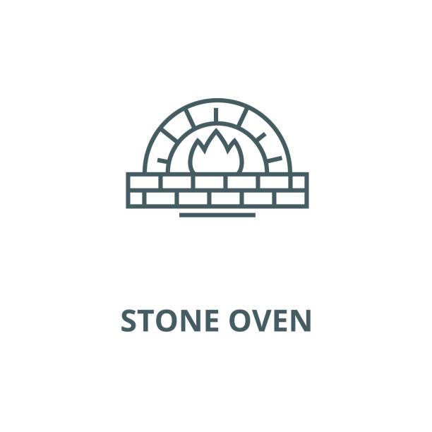 bildbanksillustrationer, clip art samt tecknat material och ikoner med sten ugnen vektor linje ikon, linjärt koncept, kontur tecken, symbol - wood stone