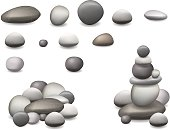 stone pebbles set isolated