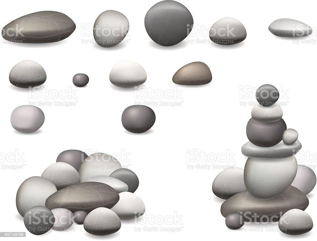 stone pebbles set isolated vector art illustration