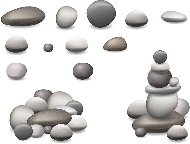 stockillustraties, clipart, cartoons en iconen met stone pebbles set isolated - steen bouwmateriaal