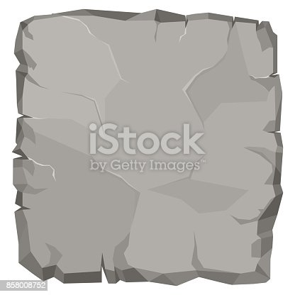 Stone rock cartoon, broken boulder template, stone banner, big grey rubble. Rocks natural game design. Vector