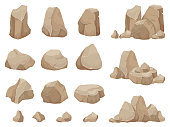 Stone rock. Stones boulder, gravel rubble and pile of rocks. Stone for wall or mountain. Granite rock for game, geology cartoon isolated vector icons set