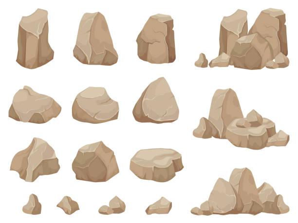 돌 바위입니다. 돌 볼 더, 자갈 잡 석 및 바위의 더미 만화 고립 된 벡터 세트 - 바위 stock illustrations