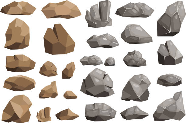 stone rock vector rockstone mountain or rocky cliff with stony materials of geology in rockies mountainous stoniness illustration set isolated on white background - skała stock illustrations