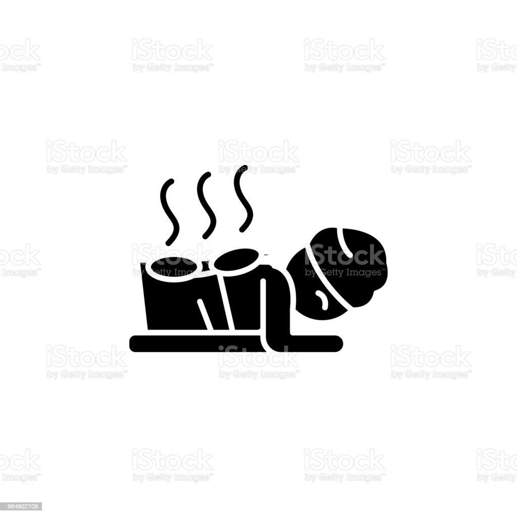 Stone spa black icon concept. Stone spa flat  vector symbol, sign, illustration. royalty-free stone spa black icon concept stone spa flat vector symbol sign illustration stock vector art & more images of aromatherapy
