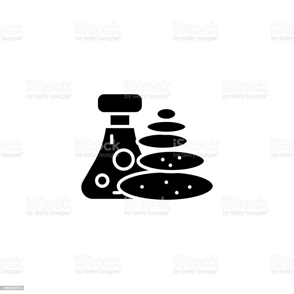 Stone therapy black icon concept. Stone therapy flat  vector symbol, sign, illustration. royalty-free stone therapy black icon concept stone therapy flat vector symbol sign illustration stock vector art & more images of no people