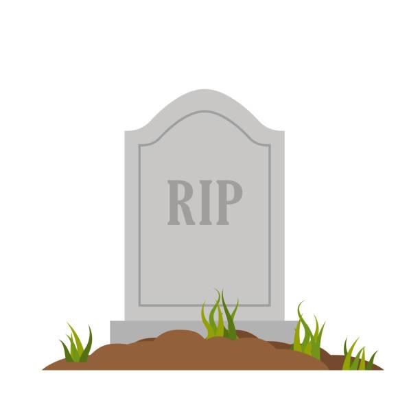 stockillustraties, clipart, cartoons en iconen met natuursteen grafsteen rip, geïsoleerd op witte achtergrond - graf