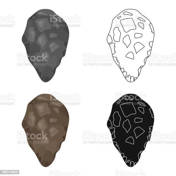 Ikona Narzędzia Kamień W Stylu Kreskówki Izolowane Na Białym Tle Symbol Epoki Kamienia Stockowego Wektorowego Ilustracji Internetowej - Stockowe grafiki wektorowe i więcej obrazów Akwaforta
