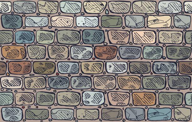 bildbanksillustrationer, clip art samt tecknat material och ikoner med stone wall vektor - befästningsmur