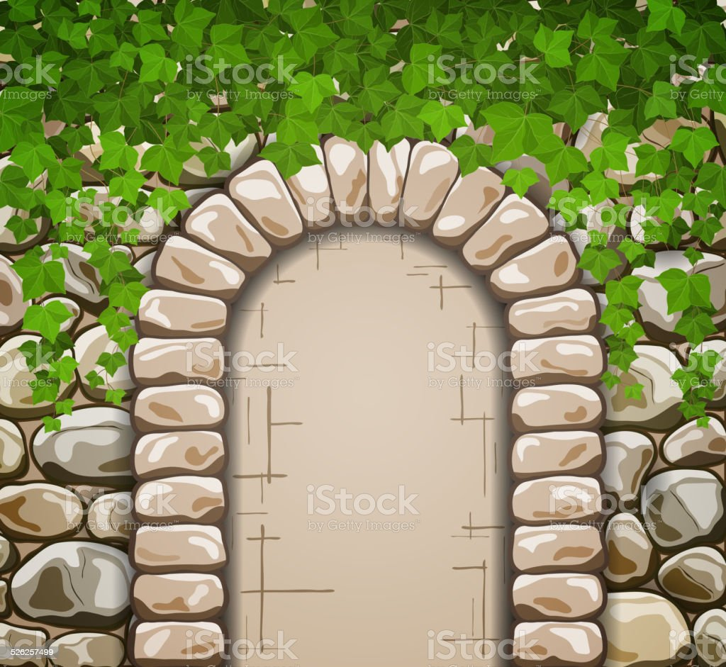 Stone wall with medieval arch and leaves vector art illustration