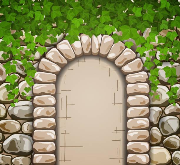 ilustrações de stock, clip art, desenhos animados e ícones de muro de pedra com arco medieval e folhas - ivy building