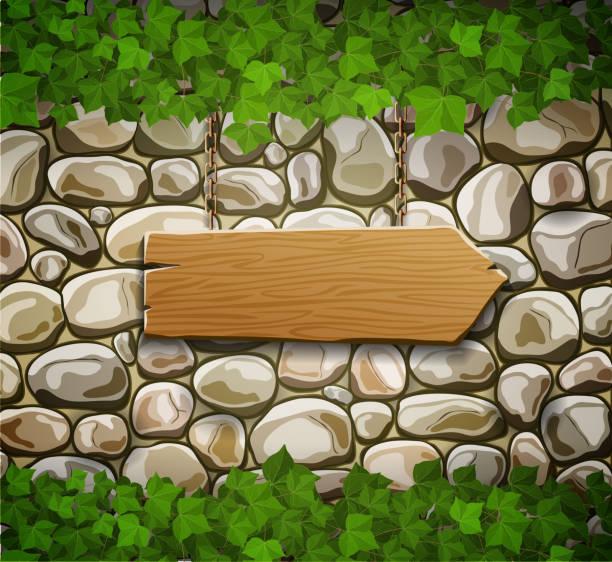 ilustrações de stock, clip art, desenhos animados e ícones de muro de pedra com seta de madeira e folhas - ivy building