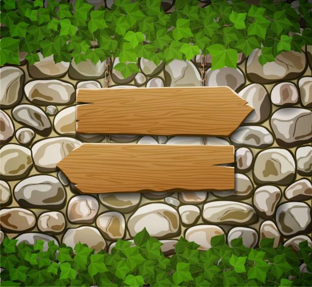 ilustrações de stock, clip art, desenhos animados e ícones de muro de pedra com setas de madeira e folhas - ivy building