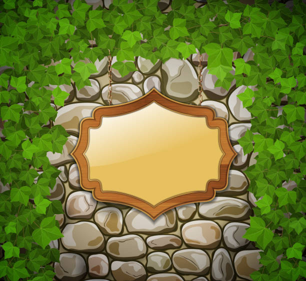 ilustrações de stock, clip art, desenhos animados e ícones de muro de pedra com escudo de madeira e folhas - ivy building