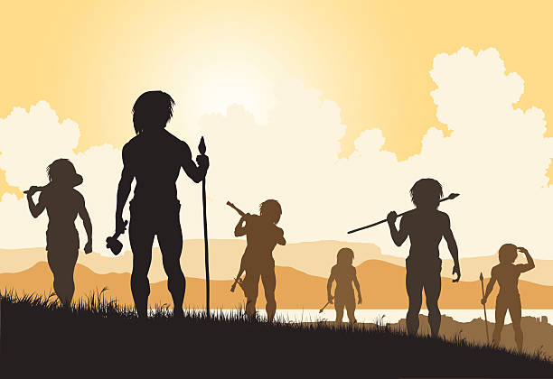 Stoneage hunters vector art illustration