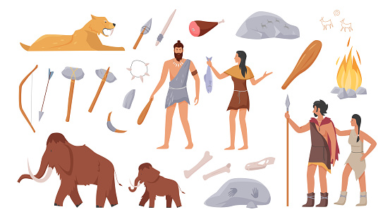 Stoneage primeval family people of primal tribe, prehistoric animals, weapon tools set