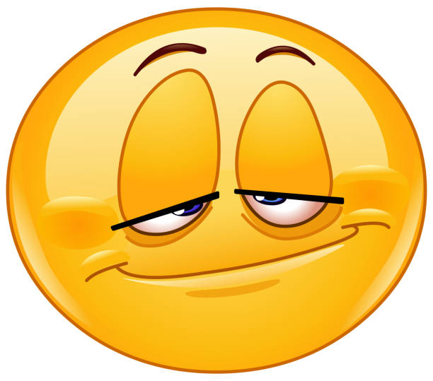 Stoned emoticon Emoticon with a stoned look tired stock illustrations