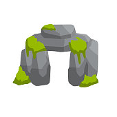 Stonehenge. English landmark. Structure is made of old stones. Historical place, block and boulders. Flat cartoon. Green moss and grass. Religious megalith of primitive man