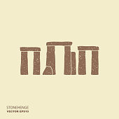 Stonehenge vector icon. Flat illustration with scuffed effect