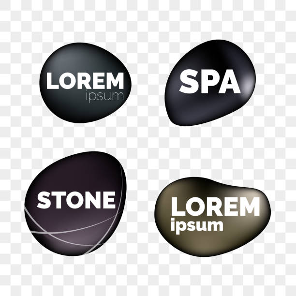 spa stones 3d isolated realistic icons on transparent background for logo design. zen relaxation and massage black stone pebbles templates for spa massage salon or jewelry decoration - pebbles stock illustrations, clip art, cartoons, & icons