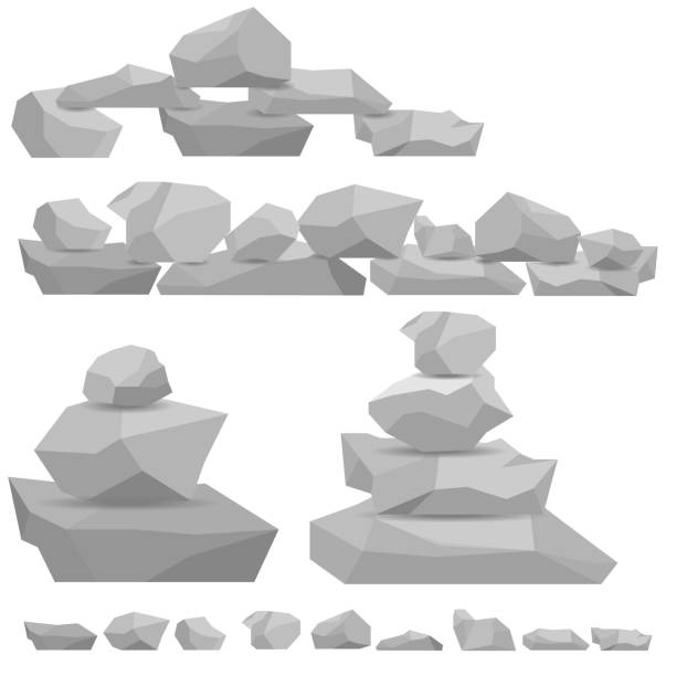 stones, a wall of stones with a shadow. figures of stone. - skała stock illustrations