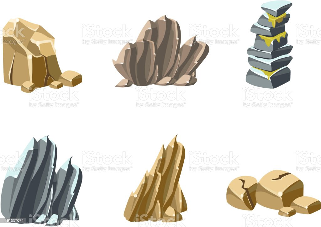 Stones and Rocks Textures vector art illustration
