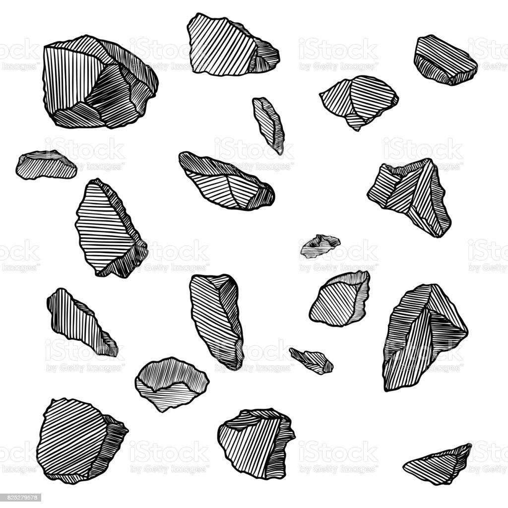 Piedras de mano dibujado bocetos de conjunto piedras y - Dibujos de piedras ...