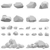 Stones, large and small stones, a set of stones. Flat design, vector illustration, vector.