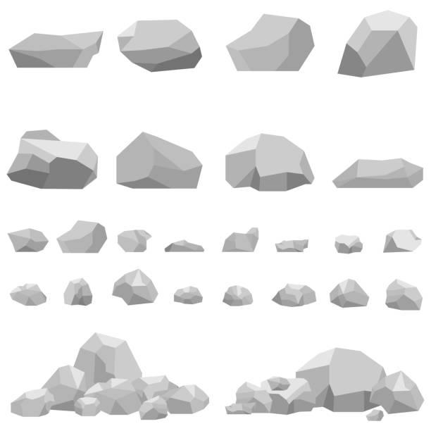 돌, 크고 작은 돌, 돌의 집합. - 바위 stock illustrations