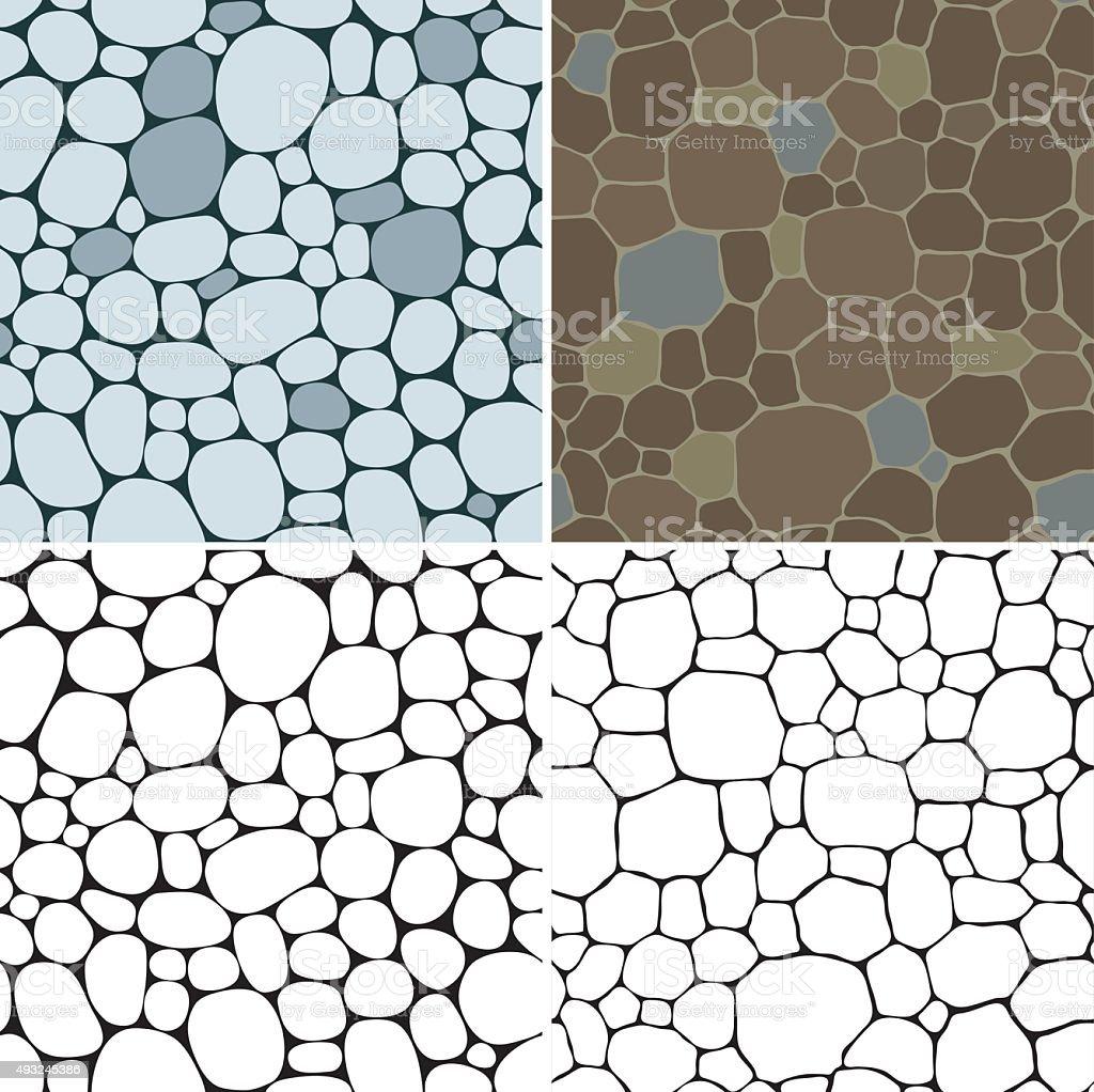 Stones seamless patterns vector art illustration