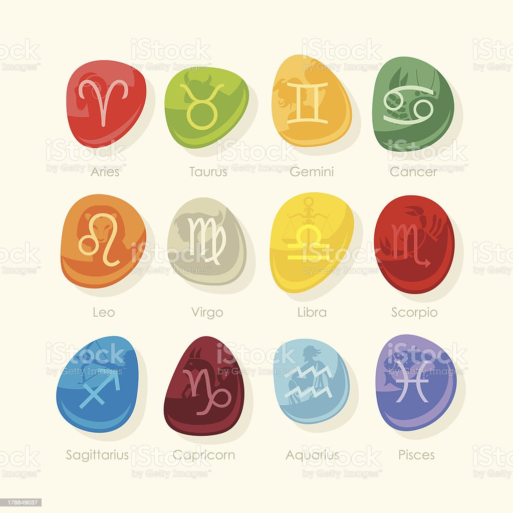 Stones set with zodiac signs royalty-free stock vector art