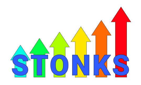Stonks inscription on the arrows of the growing graph. A modern Internet meme, a neologism meaning a sharp rise in stocks