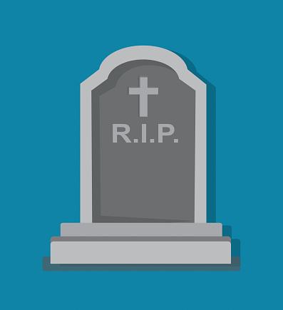 Stony tombstone blue background