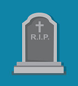 istock Stony tombstone blue background 837135490