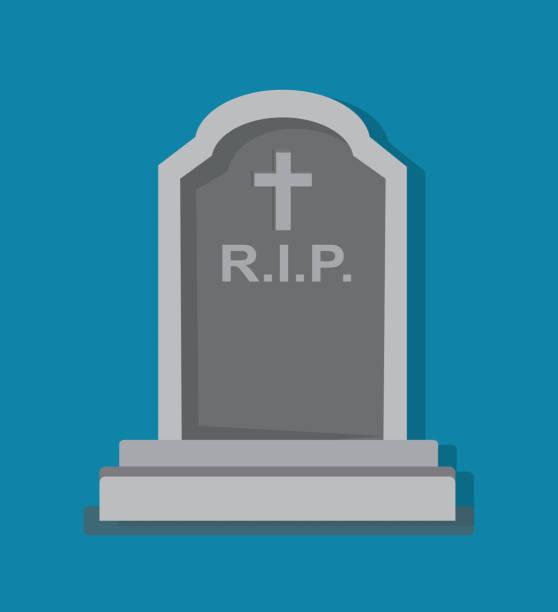 stockillustraties, clipart, cartoons en iconen met steenachtige grafsteen blauwe achtergrond - graf