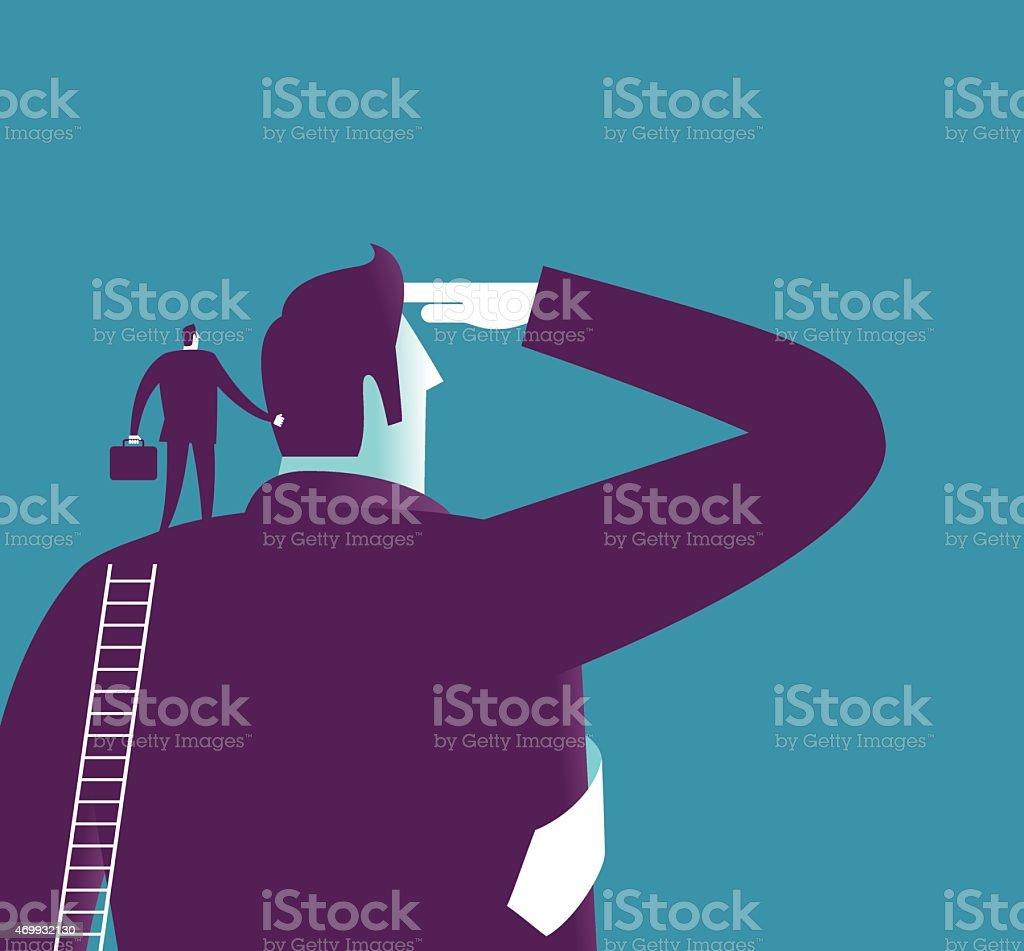 Stood on the shoulders of giants vector art illustration