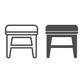 Stool line and solid icon, Furniture concept, soft backless seat sign on white background, Stool with four legs icon in outline style for mobile concept and web design. Vector graphics