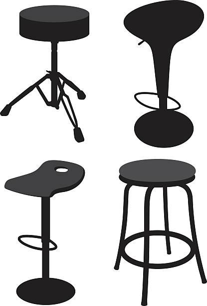 Stool Silhouettes 2 Vector Art Illustration Bar