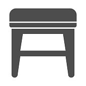 istock Stool solid icon, Furniture concept, soft backless seat sign on white background, Stool with four legs icon in glyph style for mobile concept and web design. Vector graphics. 1282771213