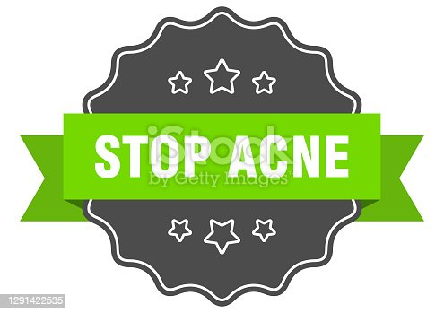 stop acne label. stop acne isolated seal. Retro sticker sign