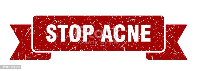 stop acne ribbon. stop acne grunge band sign. stop acne banner