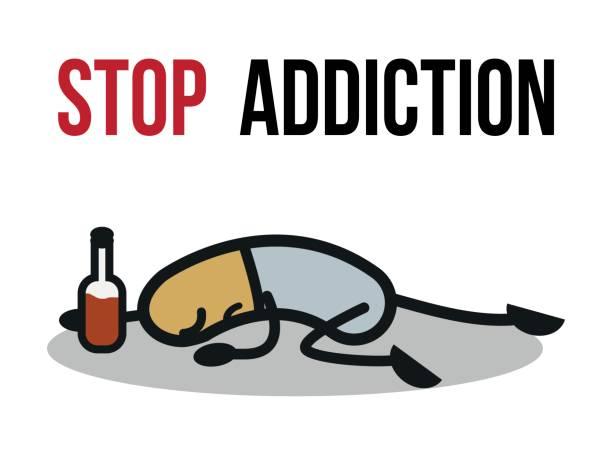 bildbanksillustrationer, clip art samt tecknat material och ikoner med stoppa missbruk, alkohol, konceptuella vektorillustration. - amfetamin