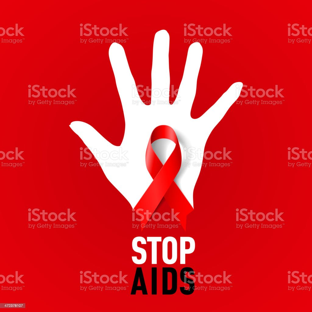 Stop AIDS sign. vector art illustration