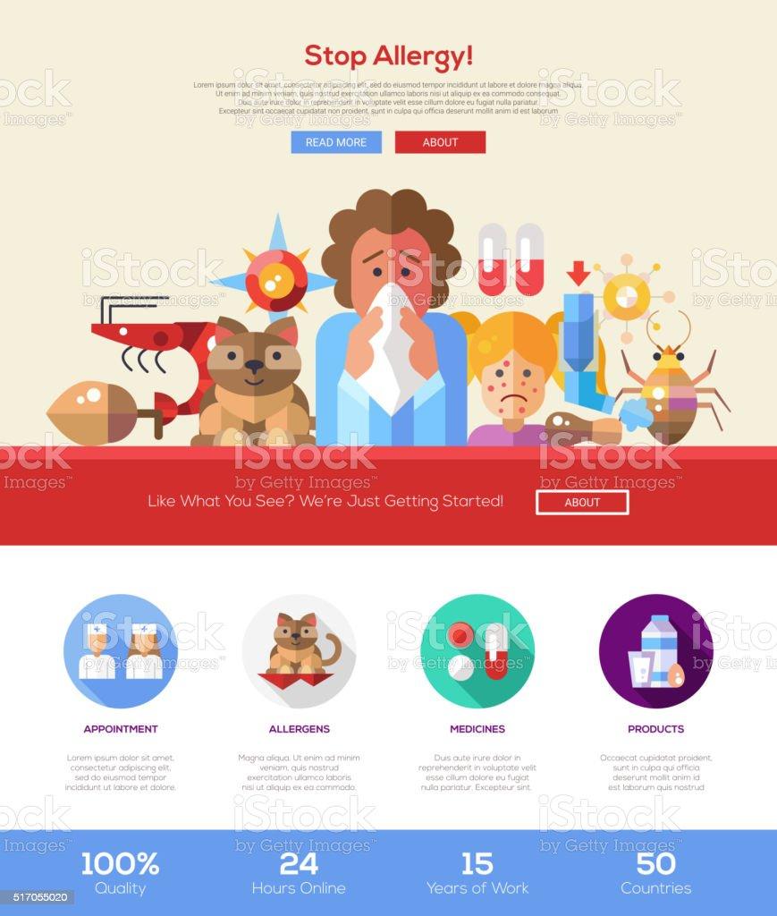 Parada alergia site cabeçalho Bandeira com elementos de Webdesign - ilustração de arte em vetor