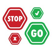 A simple set of stop and go icons in vector format. Also includes an X and a check mark symbol version.
