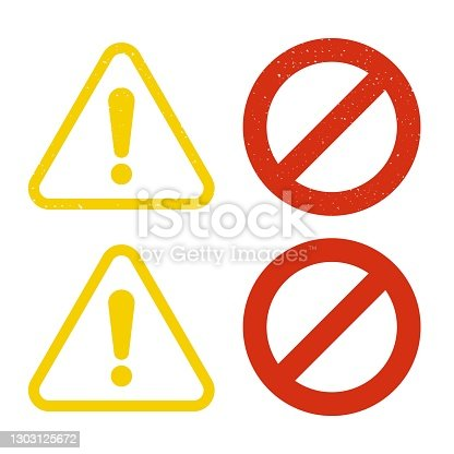 istock Stop and warning road sign, grunge style 1303125672